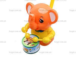 Каталка на палочке «Слон с барабаном», 1268 (1123B), цена