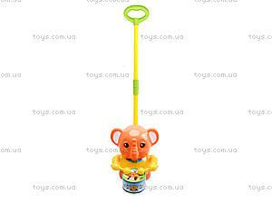 Каталка на палочке «Слон с барабаном», 1268 (1123B), игрушки