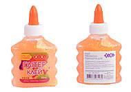 Клей неон-глитер, оранжевый, прозрачный, ZB.6114-11, іграшки