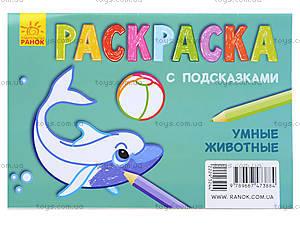 Раскраска для детей с подсказками «Умные животные», С560008РУ, купить