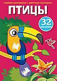 """Книга """"Первые раскраски с цветным контуром и наклейками. Птицы"""", F00023859, купить"""