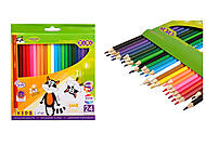 Карандаши цветные KIDS LINE, 24 цвета, ZB.2416, цена