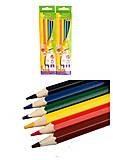 Цветные карандаши, 6 цветов, KIDS LINE (2 набора в упаковке), ZB.2413, купить