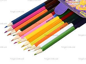 Комплект карандашей двухцветных, 12 штук, 290247, купить