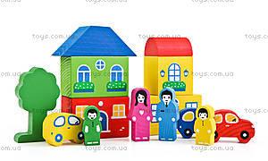 Деревянный конструктор «Цветной городок», синий, 8688-6