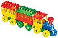 Конструктор детский «Паровоз с двумя вагонами», 36704, купить