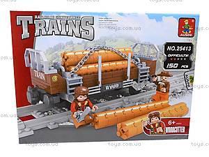 Конструктор «Поезд с древесиной», 25413, магазин игрушек