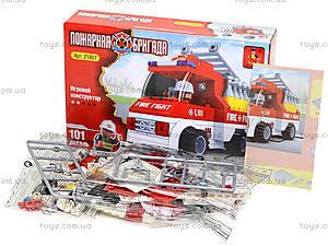 Детский конструктор «Пожарный автомобиль», 101 деталь, 21407, фото