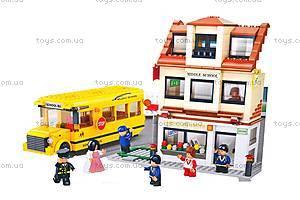 Конструктор «Школа и школьный автобус», M38-B0333R, детские игрушки