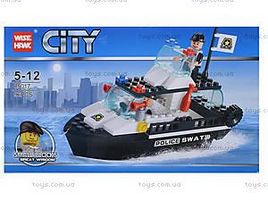 Детский конструктор полицейский «Катер», 85017, детские игрушки