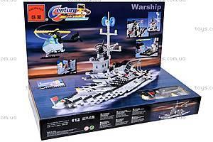 Конструктор «Военный корабль», 112, детские игрушки