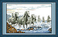 Кони в морской пене, набор для рукоделия, D033
