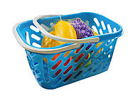 Корзинка голубая с фруктами 8 предметов, KW-04-453, отзывы