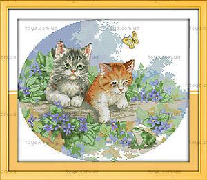 Котята на прогулке, картина для вышивки, D409