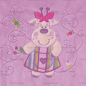 Одеяло из плюша с аппликацией, фиолетовое, 0138-19, купить