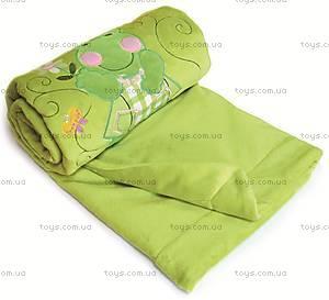 Одеяло плюшевое с аппликацией, зеленое, 0138-L-52