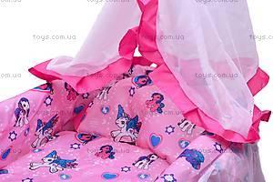 Кровать для куклы, с люлькой и балдахином, 9376, цена