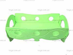 Деревянная кроватка для кукол, зеленая, К056, игрушки