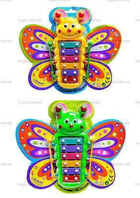 Детский музыкальный инструмент ксилофон в форме бабочки, FD043B