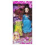 """Кукла беременная  """"Sweet girl"""" в  голубом платье, 0308A"""