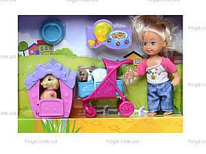 Кукла с коляской и собачкой в коробке, K899-24, фото