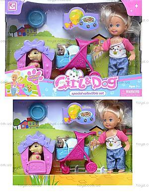 Кукла с коляской и собачкой в коробке, K899-24