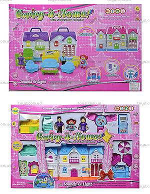 Кукольный домик с куклами семьей и мебелью, 15585A