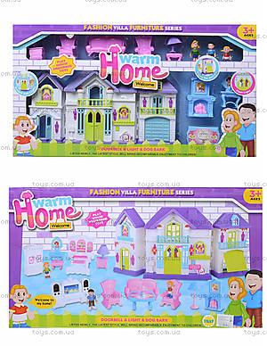 Кукольный дом с куклами и мебелью в коробке, WD-915A