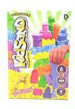 Кинетический песок KidSand с формочками 600 гр 6 цветов, KS-04-06, магазин игрушек