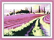 Лавандовое поле, вышивка крестиком, F024, фото