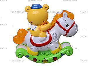 Музыкальная игрушка «Лошадь-каталка с мишкой», 7481, купить