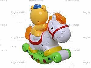 Музыкальная игрушка «Лошадь-каталка с мишкой», 7481, фото
