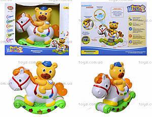 Музыкальная игрушка «Лошадь-каталка с мишкой», 7481