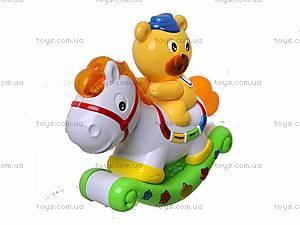 Музыкальная игрушка «Лошадь-каталка с мишкой», 7481, цена