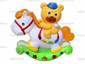 Музыкальная игрушка «Лошадь-каталка с мишкой», 7481, игрушки