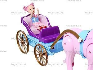 Лошадь с детской каретой и куклой, 686-631, фото