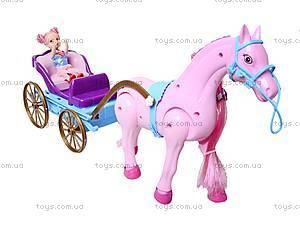 Лошадь с детской каретой и куклой, 686-631, игрушки