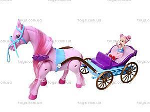 Лошадь с детской каретой и куклой, 686-631, магазин игрушек
