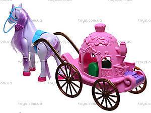 Лошадь с игрушечной каретой, 686-632, фото