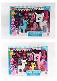 Набор Литл Пони 3шт + расческа, аксессуары, 2 вида, SG-K2036-38, детские игрушки