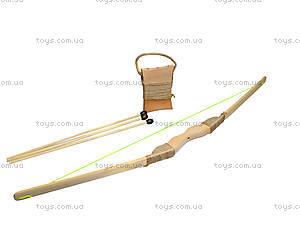 Детский деревянный лук с колчаном, 55 см, 171874у, магазин игрушек