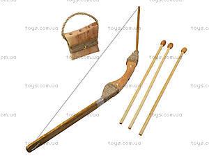 Лук деревянный с колчаном и стрелами, 171872, игрушки