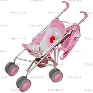 Кукольная коляска-строллер, розово-серебристый,