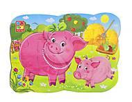 Магнитные пазлы «Свинка и поросенок» 12 деталей , VT3205-77, цена