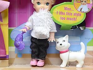 Маленькая кукла с питомцем и нарядом, 6009, фото
