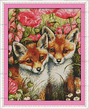 Маленькие лисы, вышивка крестиком, D399