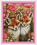 Маленькие лисы, вышивка крестиком, D399, фото