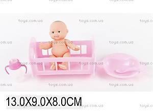 Маленький пупс в розовой кроватке, YD501-5D