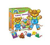Первая игра ребенка «Шнуровка+пуговицы. Медвежонок», украинская, VT1307-11, купить