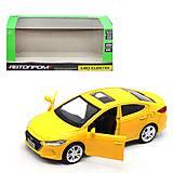 """Машина металлопластиковая """"Hyundai Elantra"""" желтая, 4343, купить"""